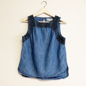 Madewell Embroidered Denim Tank